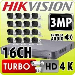 Kit Seguridad Hikvision Full Hd 16ch 1080p + 16 Camaras 3mp