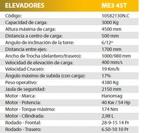 Elevador MICHIGAN 2,5 TN 4,5 MT ME 545T II - comprar online