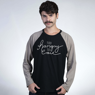 MANGA LONGA RAGLAN PRETA - TOO HANGRY TO CARE