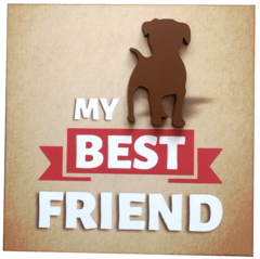 placa 20x20cm MDF 3mm adesivada - Best Friends Cachorro em Pé